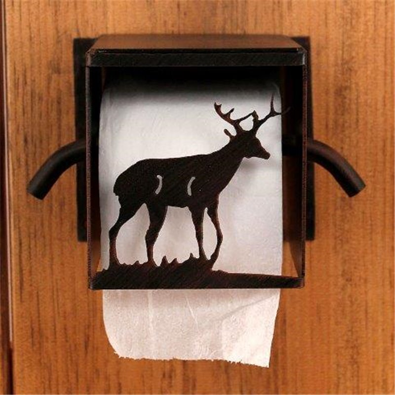 Wrought Iron Deer Buck Collection Toilet Paper Holders