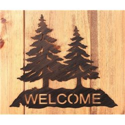 Wrought Iron Pine Trees Collection - Mounted Welcome Sign