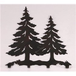 Wrought Iron Pine Tree Collection - Wall Mounted Scene w/ 4 Coat Hooks