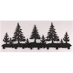 Wrought Iron Pine Tree Collection - Wall Mounted Scene w/ 8 Coat Hooks
