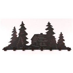 Wrought Iron Pine Tree Collection - Wall Mounted Cabin Scene w/ 8 Coat Hooks