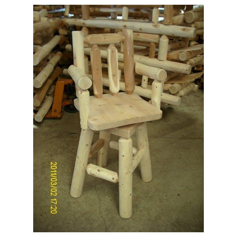 White Cedar Log Bar Stool