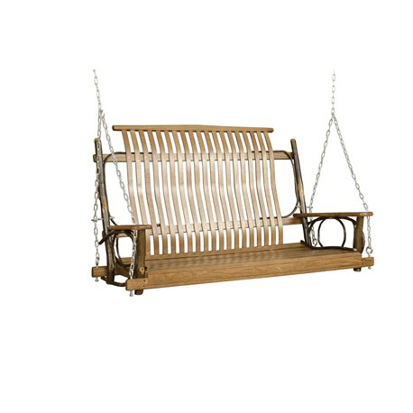 Rustic Hickory OR Hickory & Oak 4' Straight Back Porch Swing