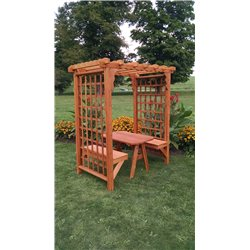 5' Arbor with 2 Benches & Table in Cedar Stain