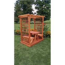 5' Arbor with Deck, 2 Benches, & Table in Cedar Stain