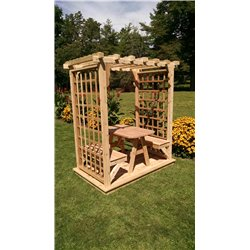 5' Arbor with Deck, 2 Benches & Table - Unfinished