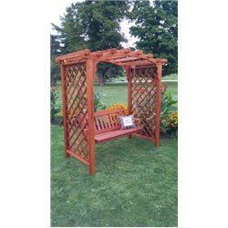 Jamesport 6' Arbor with Swing in Redwood Stain
