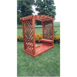 Jamesport 6' Arbor with Deck and 2 Benches in Redwood Stain