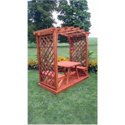 Jamesport 6' Arbor with Deck, 2 Benches, & Table in Redwood Stain