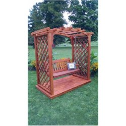 Jamesport 6' Arbor with Deck & Swing in Redwood Stain