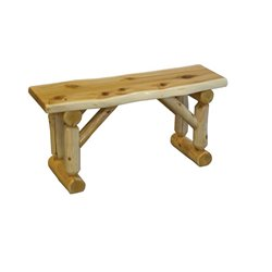 Rustic White Cedar Log Backless Bench