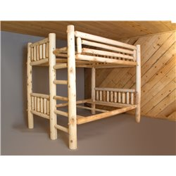 Rustic White Cedar Log Bunk Bed - Twin / Full / Queen