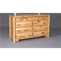 Rustic White Cedar Log 9 Drawer Dresser