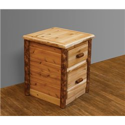 Rustic Two-Tone White Cedar Log Nightstand/End Table