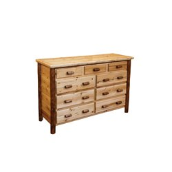 Rustic White Cedar Log Two Tone 9 Drawer Dresser