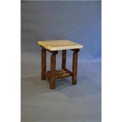 Rustic White Cedar Log Two Tone Side Table with Shelf