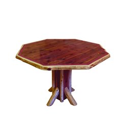 Red Cedar Log Octagon Pedestal Table
