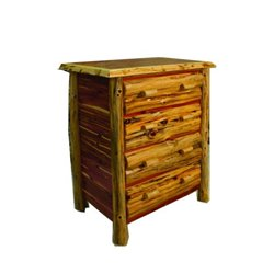 Rustic Red Cedar Log 4 Drawer Chest / Dresser
