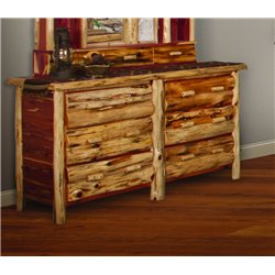 RUSTIC RED CEDAR LOG 6 DRAWER DRESSER