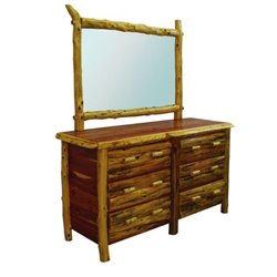 Rustic Red Cedar Log 6 Drawer Dresser with Mirror