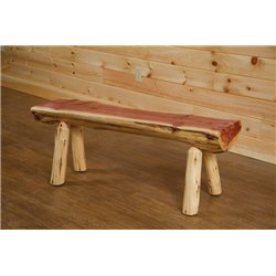 Rustic Red Cedar Half Log Bench