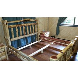 RUSTIC RED CEDAR LOG BED, 6 DRAWER DRESSER, NIGHTSTAND AND MIRROR FRAME