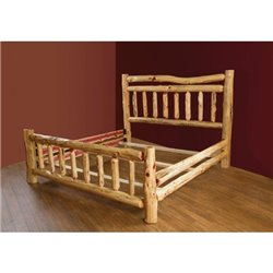 Rustic Red Cedar Log Double Top Rail Bed Set - King or Queen 4 Piece Set