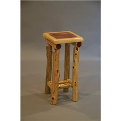 Rustic Red Cedar Log Small End Table / Night Stand with Shelf
