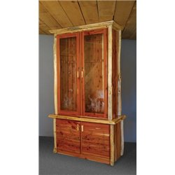 Rustic Red Cedar Log Gun Cabinet with Locking Doors