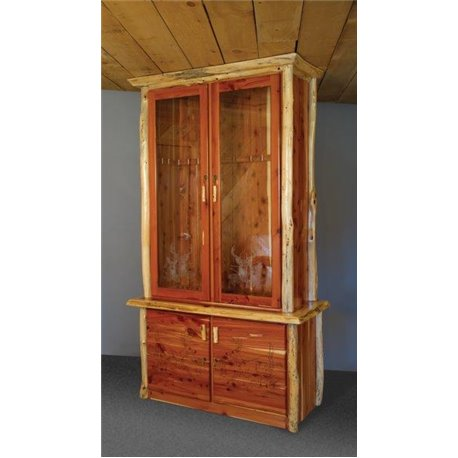 Rustic Red Cedar Log Gun Cabinet with Locking Doors  sc 1 st  Furniture Barn USA & Rustic Gun Cabinet with Locking Doors