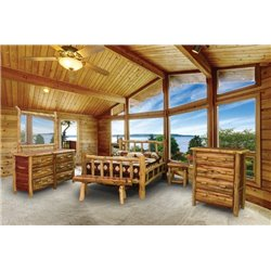 Rustic Red Cedar Log Double Side Rail with Spindles - 5 Piece Set