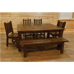Barn Wood Style Timber Peg Extension Dining Table with 4 Leaves, 4 Chairs, and 5 Foot Bench