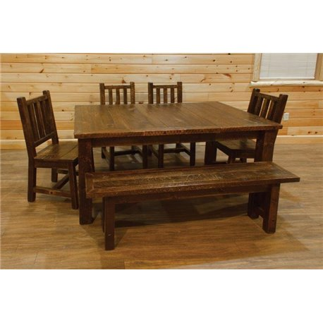 Merveilleux Barn Wood Style Timber Peg Extension Dining Table With 4 Leaves, 4 Chairs,  And
