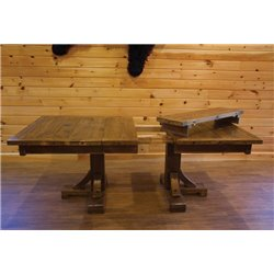 Barn Wood Style Timber Peg Double Pedestal Dining Table with 2 Leaves