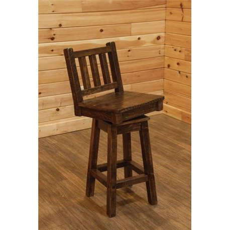 Barn Wood Style Timber Peg Swivel Bar Stool with Back - 24 or 36 inch