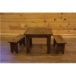 Barn Wood Style Timber Peg Children's Table with 2 Benches