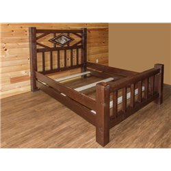 Barn Wood Style Timber Peg Diamond Mission Bed - Twin, Full, Queen, or King