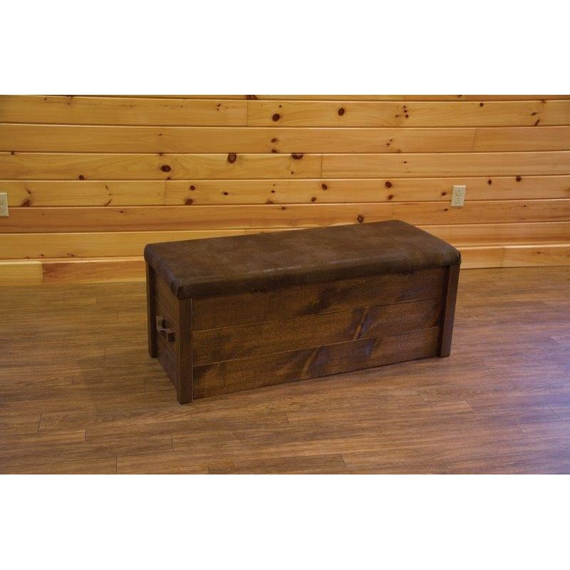 Barn Wood Style Cushion Top Storage Chest
