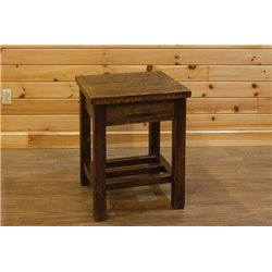 Barn Wood Style Timber Peg 1 Drawer End Table/Nightstand