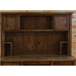 Barn Wood Style Timber Peg Executive Desk with Hutch
