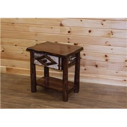 Rustic Live Edge Red Cedar Log 1 Drawer End Table / Night Stand