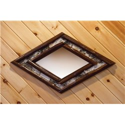 Rustic Stained Red Cedar Log Diamond Mirror