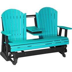 Poly Outdoor 5 Foot Adirondack Porch Glider Bench with Center Table
