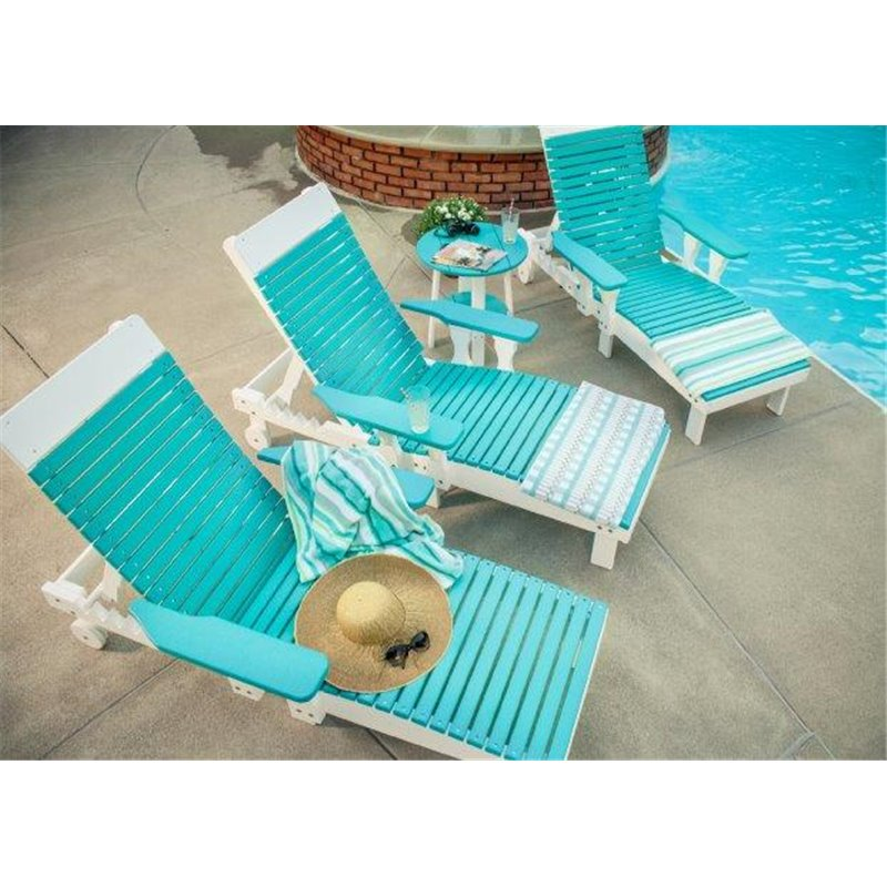 Lifestyle   Aruba Blue/White · 2 Outdoor Poly Chaise Lounge Chairs ...