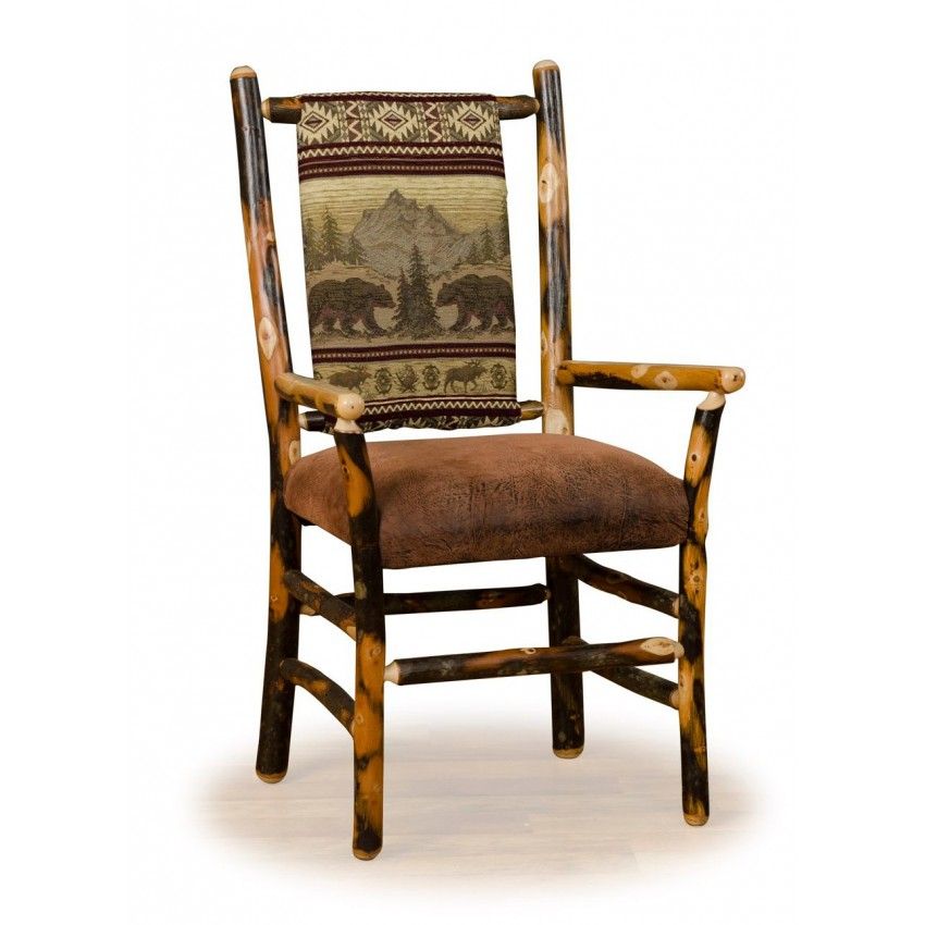 Two Rustic Hickory Dining Arm Chairs Low Back