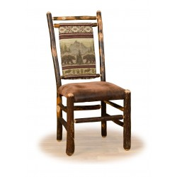 Set of Two Rustic Hickory Medium Back Dining Chairs