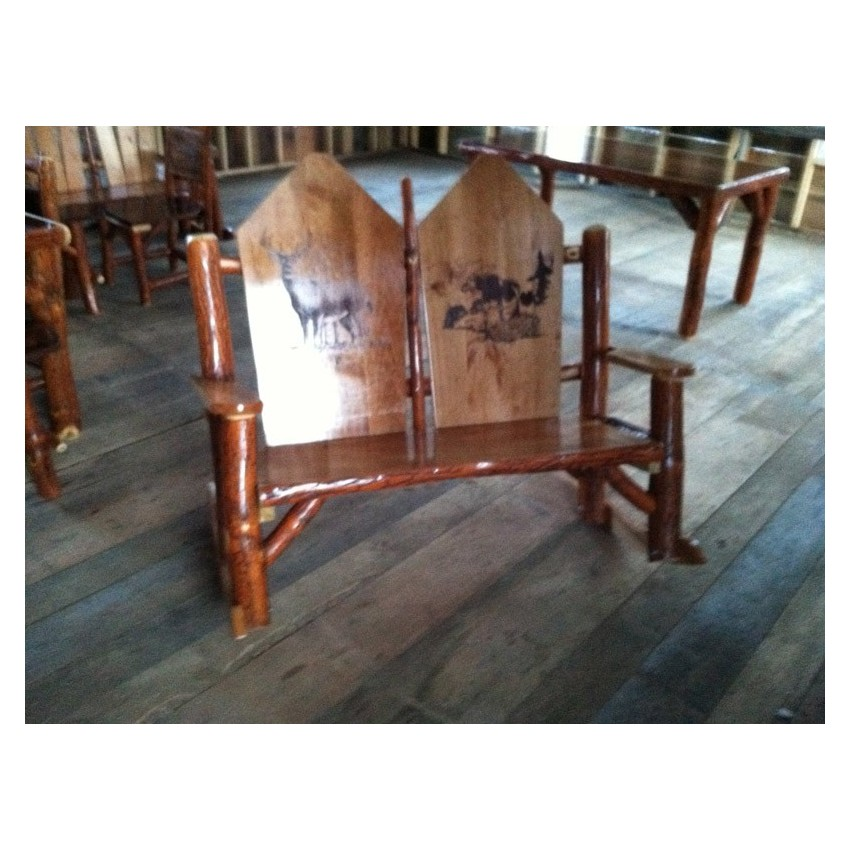 Rustic Log Sassafras Double Rocker with Solid Back