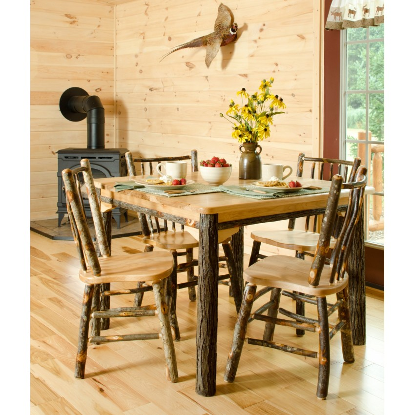Dining Complete Rustic Hickory Oak Dining Room Set Table Am