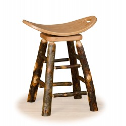 "Rustic Hickory 24"" Counter Swivel Saddle Stool  - Hickory & Oak or All Hickory"