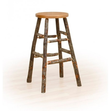 "Rustic Hickory 18"" Kitchen Stool - Hickory & Oak or All Hickory"